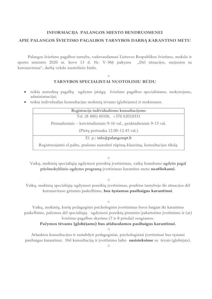 Informacija Palangos miesto bendruomenei-1